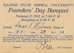 1912 Founder's Day Banquet Tickets by Illinois State University
